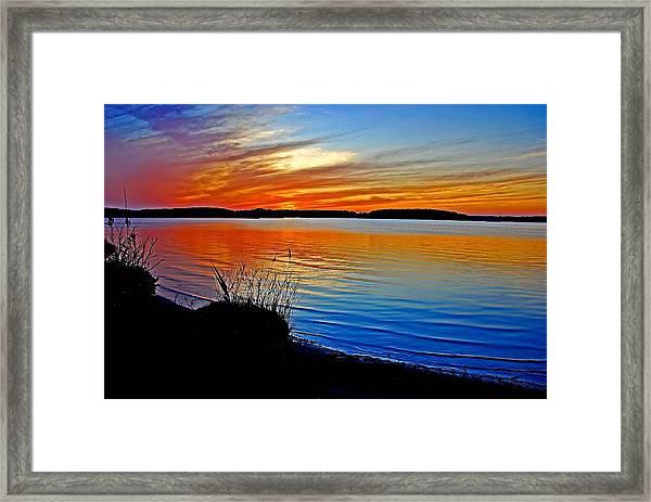 Assawoman Bay At Sunset Framed Print