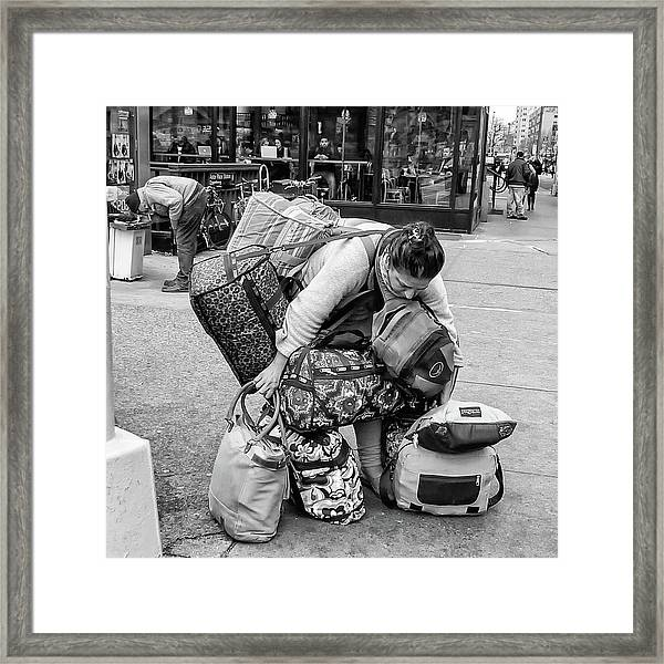 Framed Print featuring the photograph Bag Lady by Eric Lake