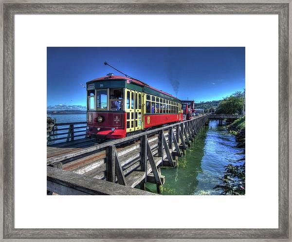 Astoria Riverfront Trolley Framed Print