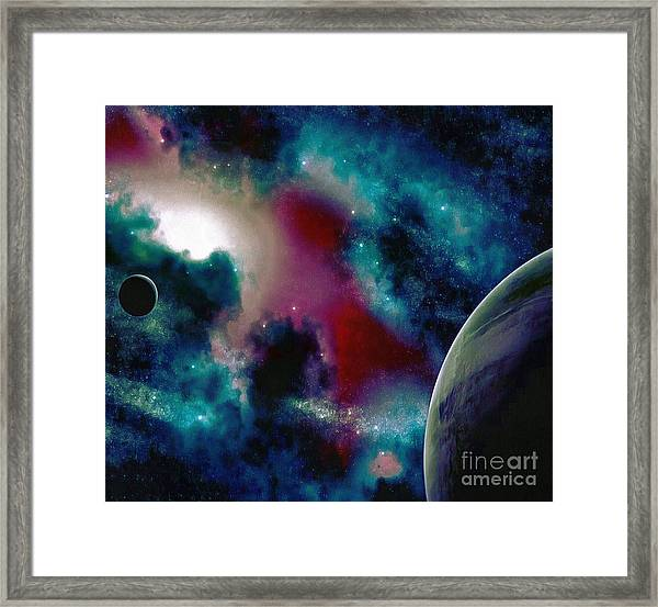Astronomy Painting Glammed Out Teal Framed Print