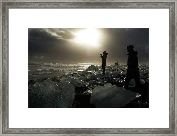 The Diamond Beach, Jokulsarlon, Iceland Framed Print