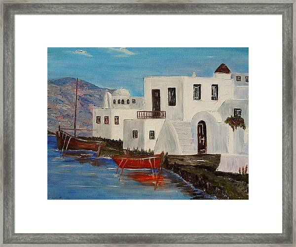 At Home In Greece Framed Print