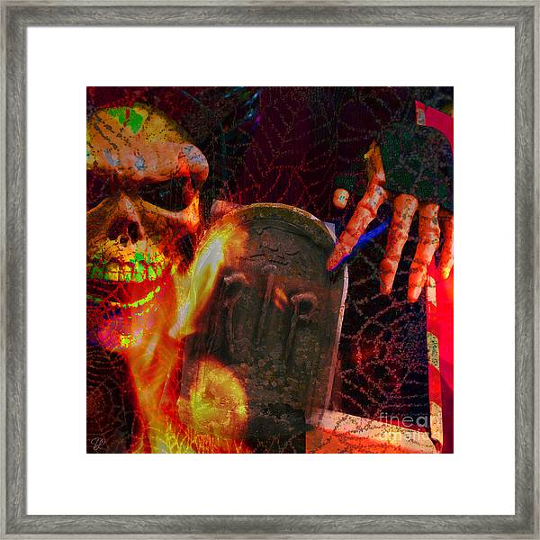 At Night In The Graveyard Framed Print