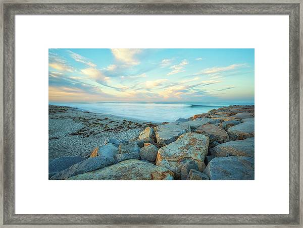 At The Corner Of Beach And Jetty Street Framed Print