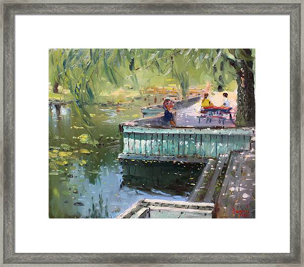 At The Park By The Water Framed Print