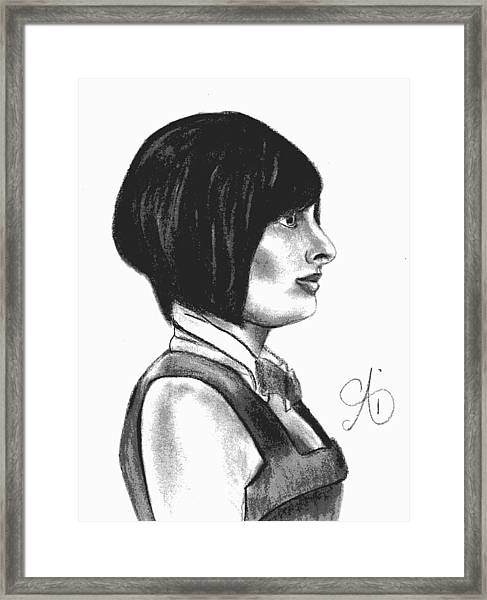 At Your Service - Bartender Art - Charcoal Drawing Illustration By Ai P. Nilson  Framed Print