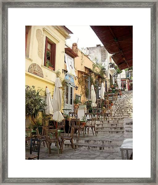 Athens Cafe Framed Print