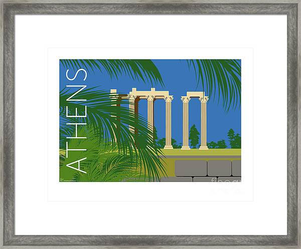 Framed Print featuring the digital art Athens Temple Of Olympian Zeus - Blue by Sam Brennan