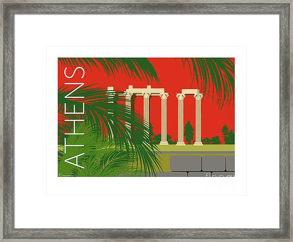 Framed Print featuring the digital art Athens Temple Of Olympian Zeus - Orange by Sam Brennan