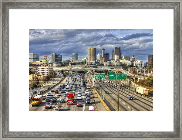 Fleeing South Atlanta Cityscape Skyline Framed Print