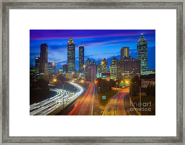 Atlanta Downtown By Night Framed Print