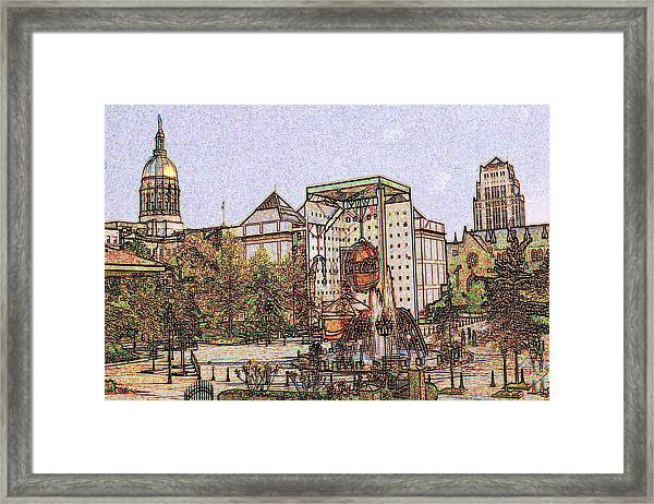 Atlanta Georgia Usa - Color Pencil Framed Print