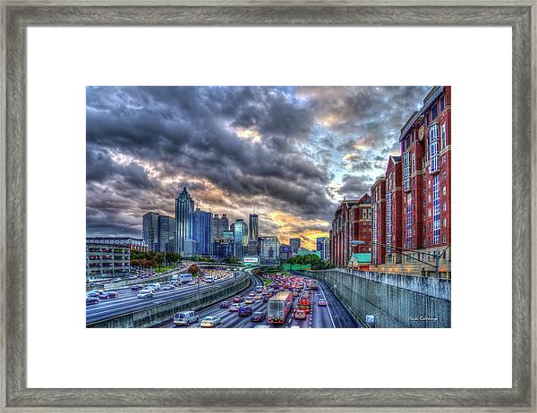 The Rush Is On Atlanta Downtown Atlanta Sunset Art Framed Print