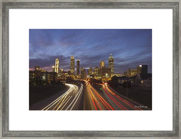 Atlanta Night Lights Sunset Cityscape Skyline Art Framed Print