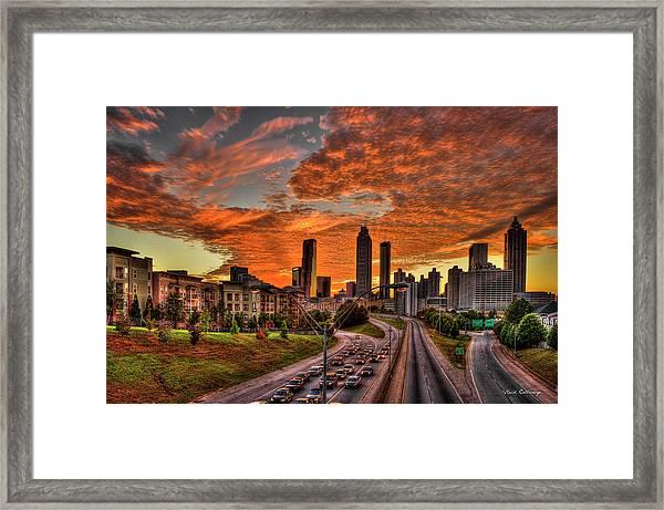 Atlanta Orange Clouds Sunset Capital Of The South Framed Print