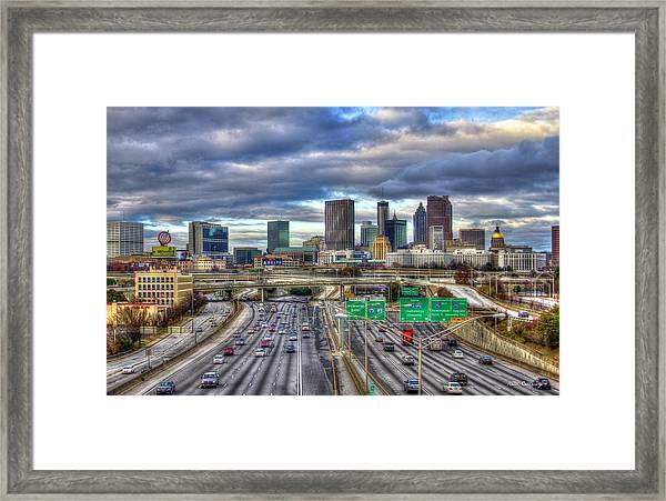 Atlanta Skyline Cityscape 3 Downtown Atlanta Art Framed Print
