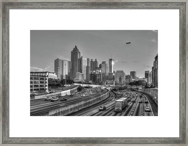 Atlanta Sunset Good Year Blimp Overhead Cityscape Art Framed Print