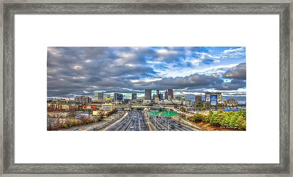 Atlanta Wide Angle Downtown Atlanta Cityscape Skyline Art Framed Print