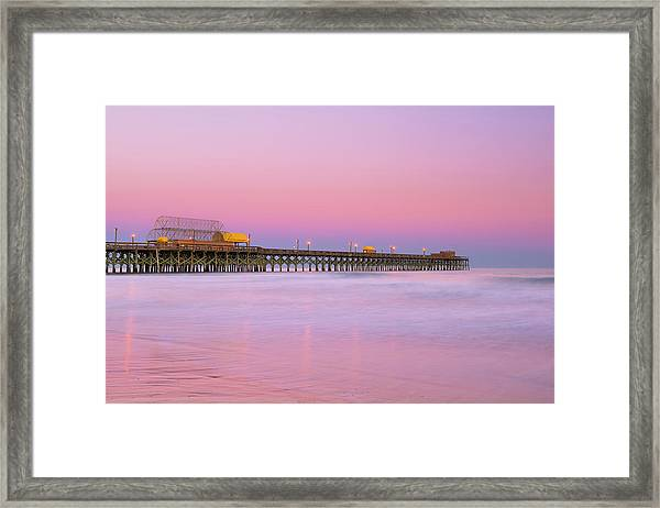 Framed Print featuring the photograph Atlantic Ocean And The Apache Pier At Sunset In South Carolina by Ranjay Mitra