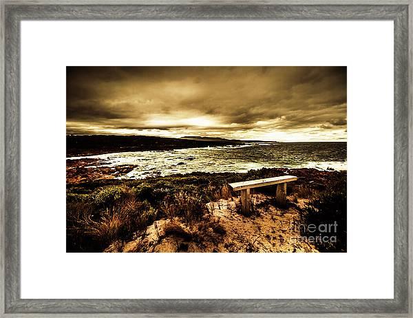 Atmospheric Beach Artwork Framed Print