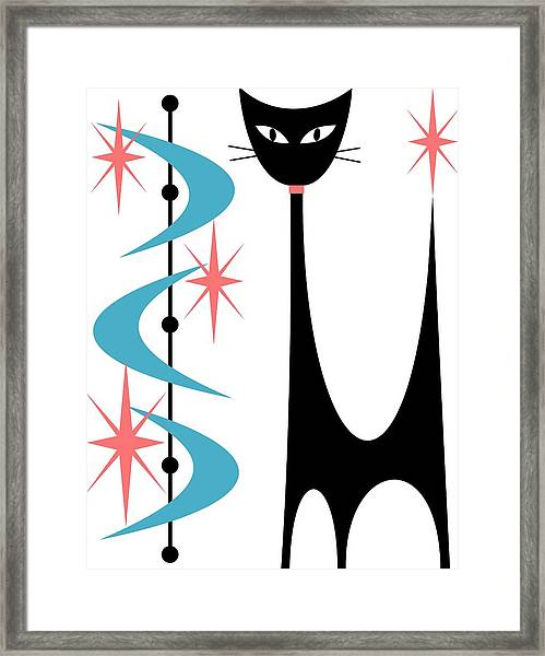 Atomic Cat Turquoise And Pink  Framed Print