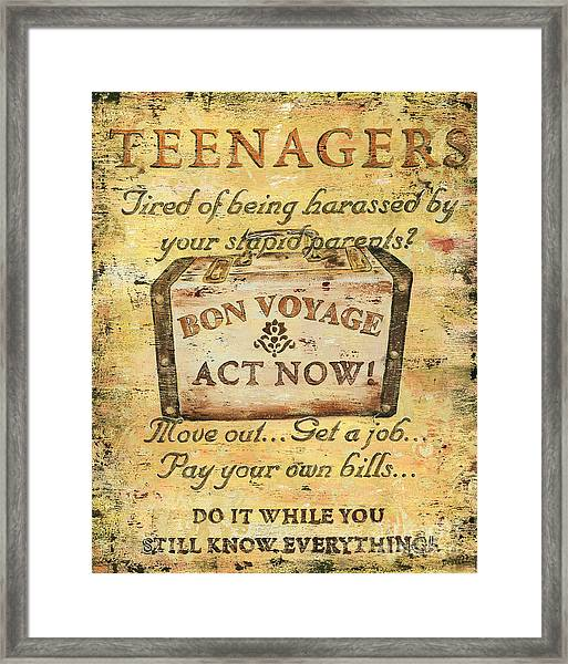 Attention Teenagers Framed Print