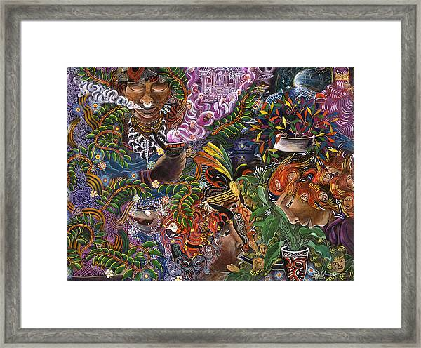 Framed Print featuring the painting Auca Yachai by Pablo Amaringo