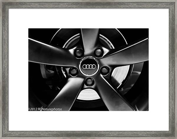 Audi Wheel  Monochrome Framed Print