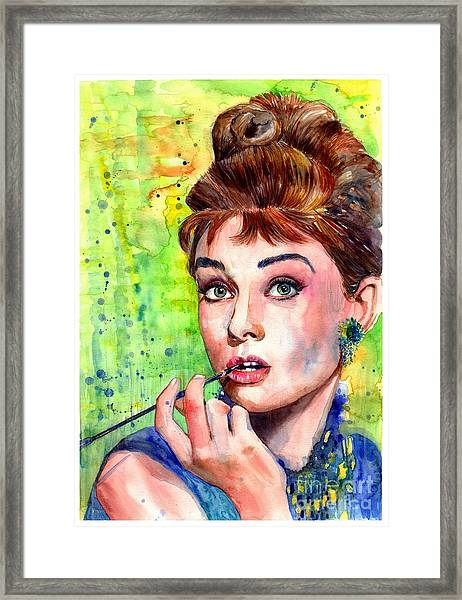 Audrey Hepburn Watercolor Framed Print