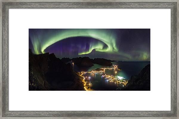 Aurora Above Reine Framed Print