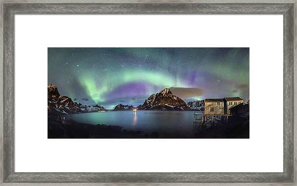 Aurora Above Reinefjord Framed Print