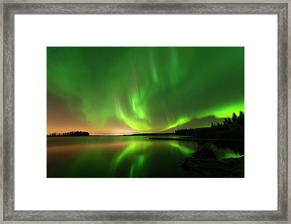 Aurora Borealis At Elk Island National Park Framed Print