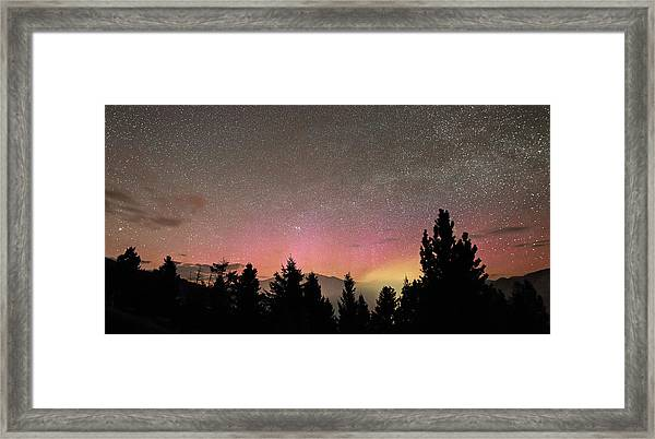 Aurora Borealis Over Mammoth Hot Springs In Yellowstone Np Framed Print by Jean Clark
