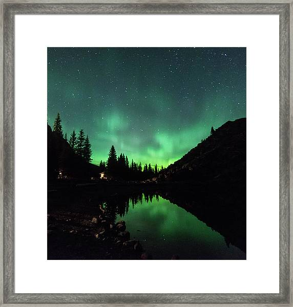 Aurora On Moraine Lake Framed Print