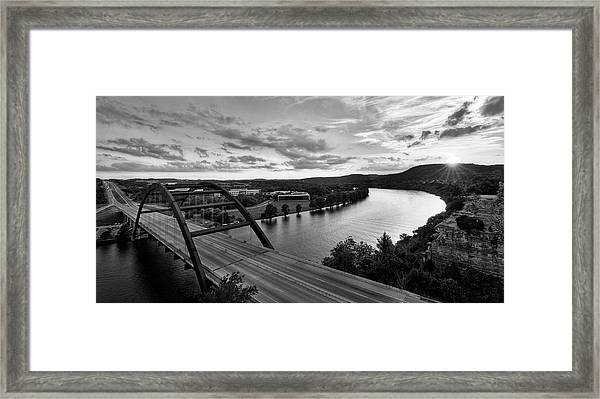 Austin 360 Pennybacker Bridge Sunset Framed Print