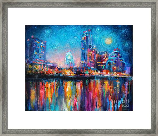 Austin Art Impressionistic Skyline Painting #2 Framed Print