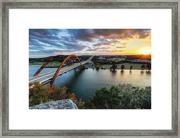 Austin Pennybacker 360 Bridge Sunset Framed Print by Preston Broadfoot