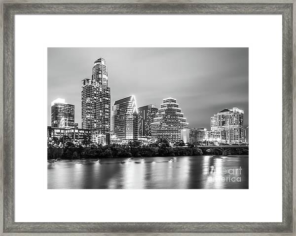 Austin Skyine At Night Framed Print