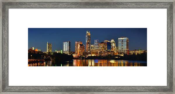 Austin Skyline At Night Color Panorama Texas Framed Print