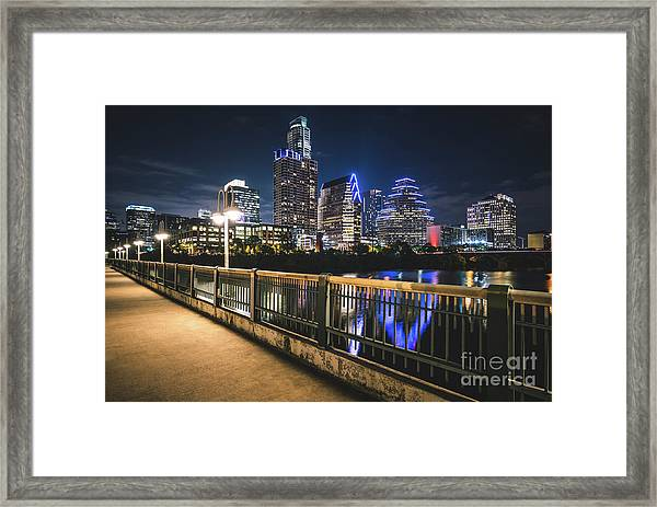 Austin Skyline At Night In Austin Texas Framed Print by Paul Velgos
