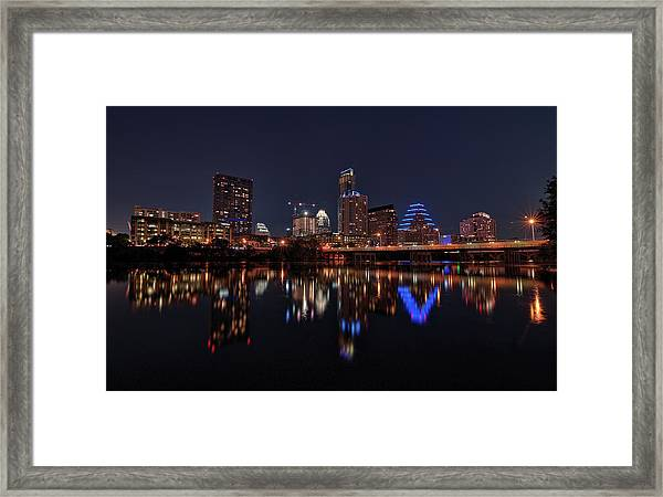 Austin Skyline At Night Framed Print