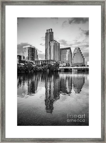 Austin Skyline Reflection In Black And White  Framed Print by Paul Velgos