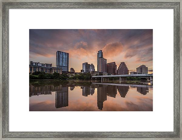 Austin Skyline Sunrise Reflection Framed Print