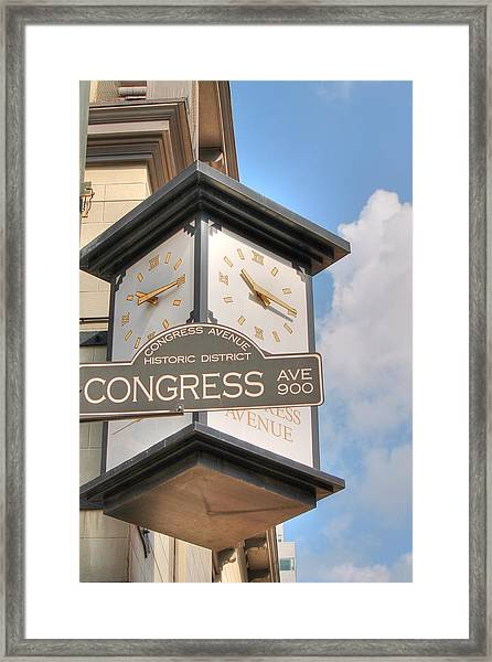 Austin Street Sign And Clock Framed Print