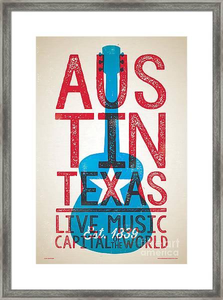 Austin Poster - Texas - Live Music Framed Print