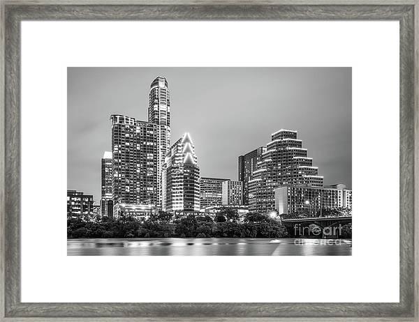 Austin Texas Skyine At Night Black And White Photo Framed Print
