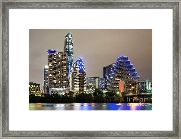 Austin Texas Skyine At Night Photo Framed Print