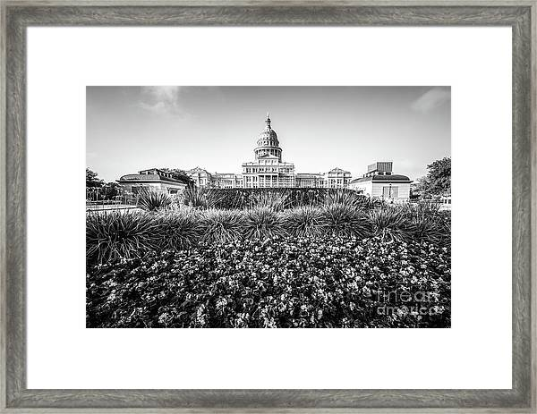 Austin Texas State Capitol Building Black And White Photo Framed Print by Paul Velgos