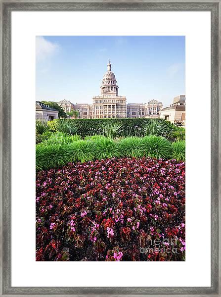 Austin Texas State Capitol Flowers Framed Print by Paul Velgos