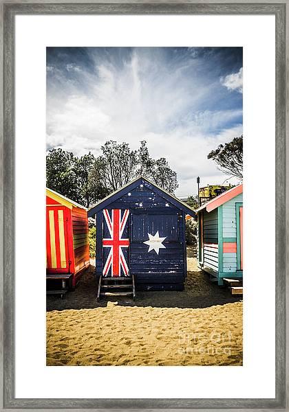 Australia Bathing Boxes Framed Print